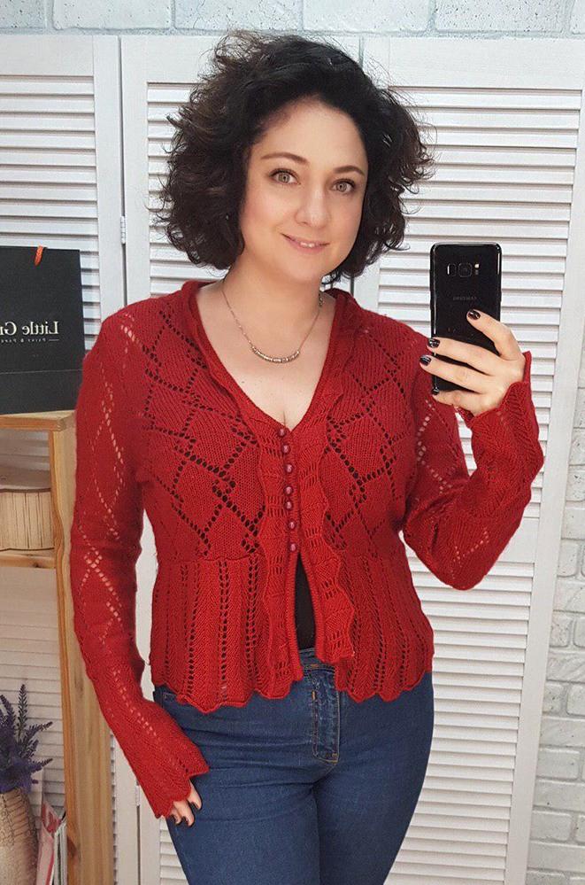 Кофта женская красная размер 46-48 8895
