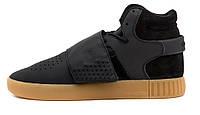 Мужские кроссовки Adidas Tubular Invader Black Gum (адидас тубулар, черные)