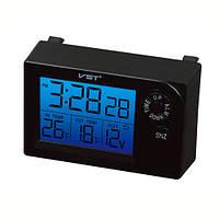 Автомобильные часы VST-7048V, температура, вольтметр