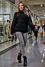 Свитер чёрный женский повседневный р.42-48 вязка, фото 3