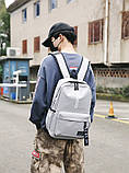 Рюкзак большой BE YOUR STYLE мужской женский чоловічий жіночий школьный портфель серый, фото 7