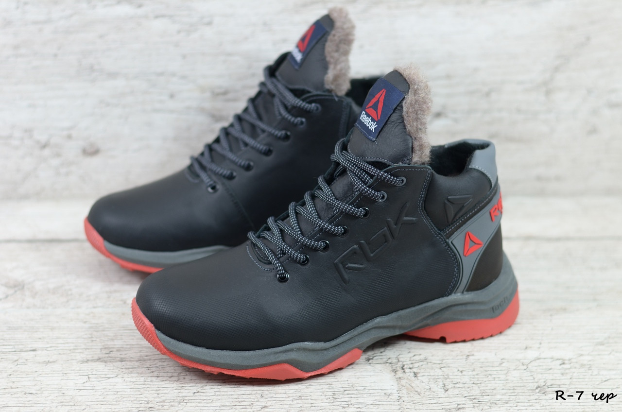 Мужские кожаные зимние ботинки/кроссовки Reebok (Реплика) (Код: R-7 чер  ) ►Размеры [44]