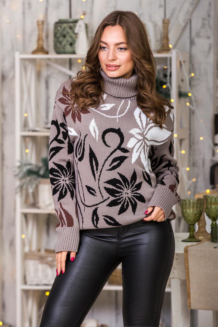 Теплый милый свитер (капучино, черный, шоколад, белый) Универсальный размер 44-48