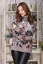 Теплый милый свитер (капучино, черный, шоколад, белый) Универсальный размер 44-48, фото 3