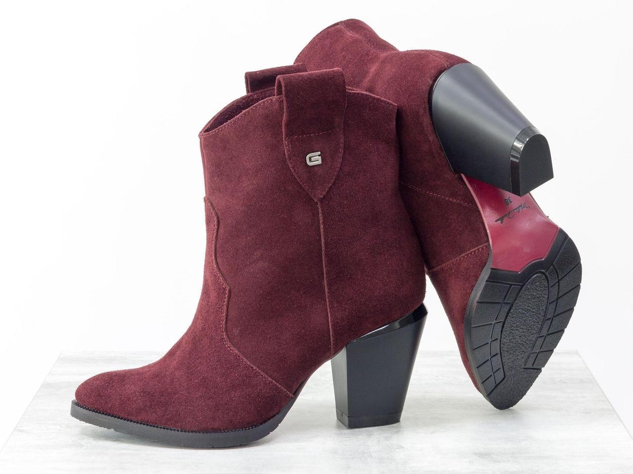 Невисокі чобітки козаки бордового кольору з м'якої замші