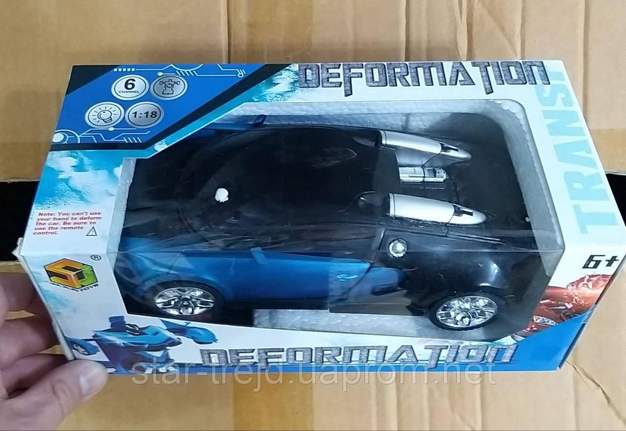 Машинка Трансформер Bugatti Robot Car Size 1:12 СИНЯЯ С ПУЛЬТОМ ОПТ