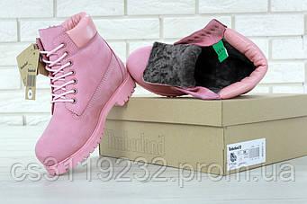 Жіночі зимові черевики Timberland (нат.хутро) (рожевий)