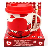 Чашка с силиконовой крышкой и ложкой Love - 203654