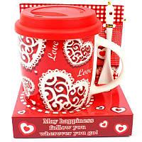 Чашка с силиконовой крышкой и ложкой Love - 203655