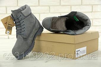 Жіночі зимові черевики Timberland (нат.хутро) (сірий)