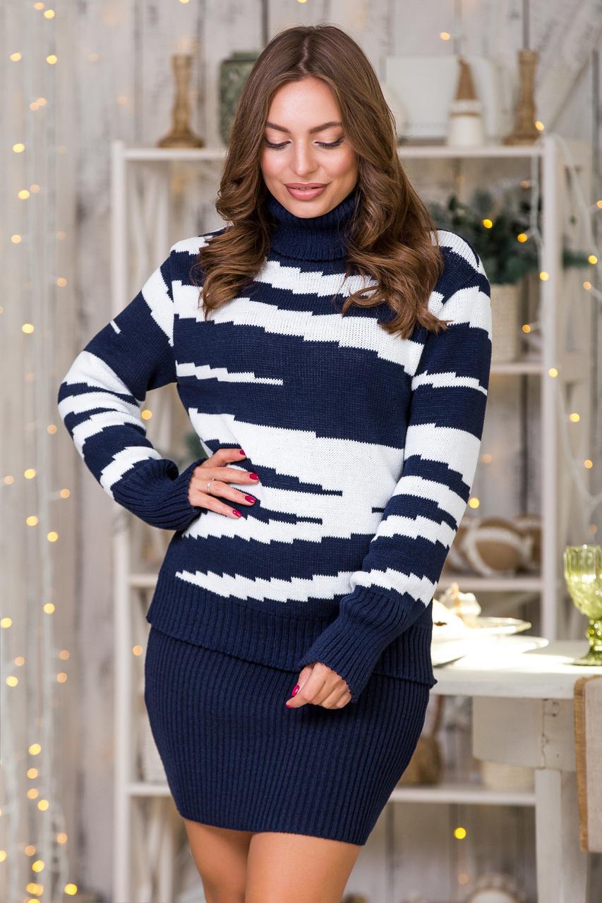 Теплый костюм Свитер с юбкой-мини  цвет в ассортименте Универсальный размер 44-48