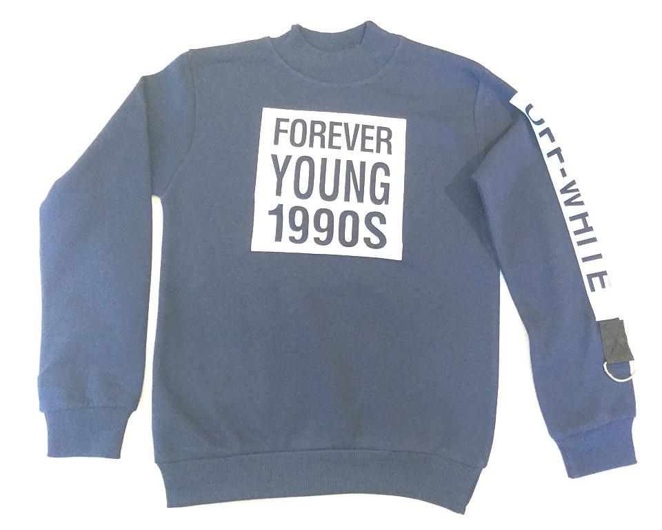 """Тёплый батник на мальчика """"Forever"""" синего цвета 9-12 лет"""