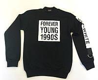 "Тёплый батник на мальчика ""Forever"" чёрного цвета 9-12 лет"