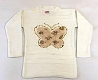 Вязанная туника Бабочка золотая на 4-8 лет, белого цвета
