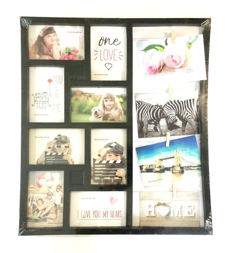 Фоторамка Семейные истории на 12 фото 10х15 см чёрного цвета