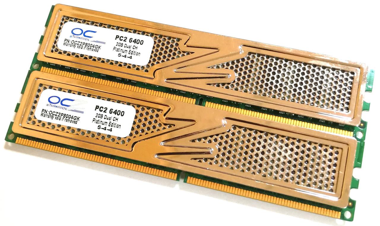 Игровая оперативная память OCZ DDR2 4Gb KIT of 2 800MHz PC2 6400U CL5 (OCZ2P8004GK) Б/У