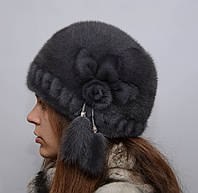 """Женская норковая шапка """"Шарик-роза,перфорация"""""""