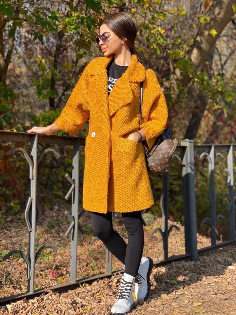 Женское Пальто - кимоно из вареной шерсти с отложным воротником и карманами 71pal244