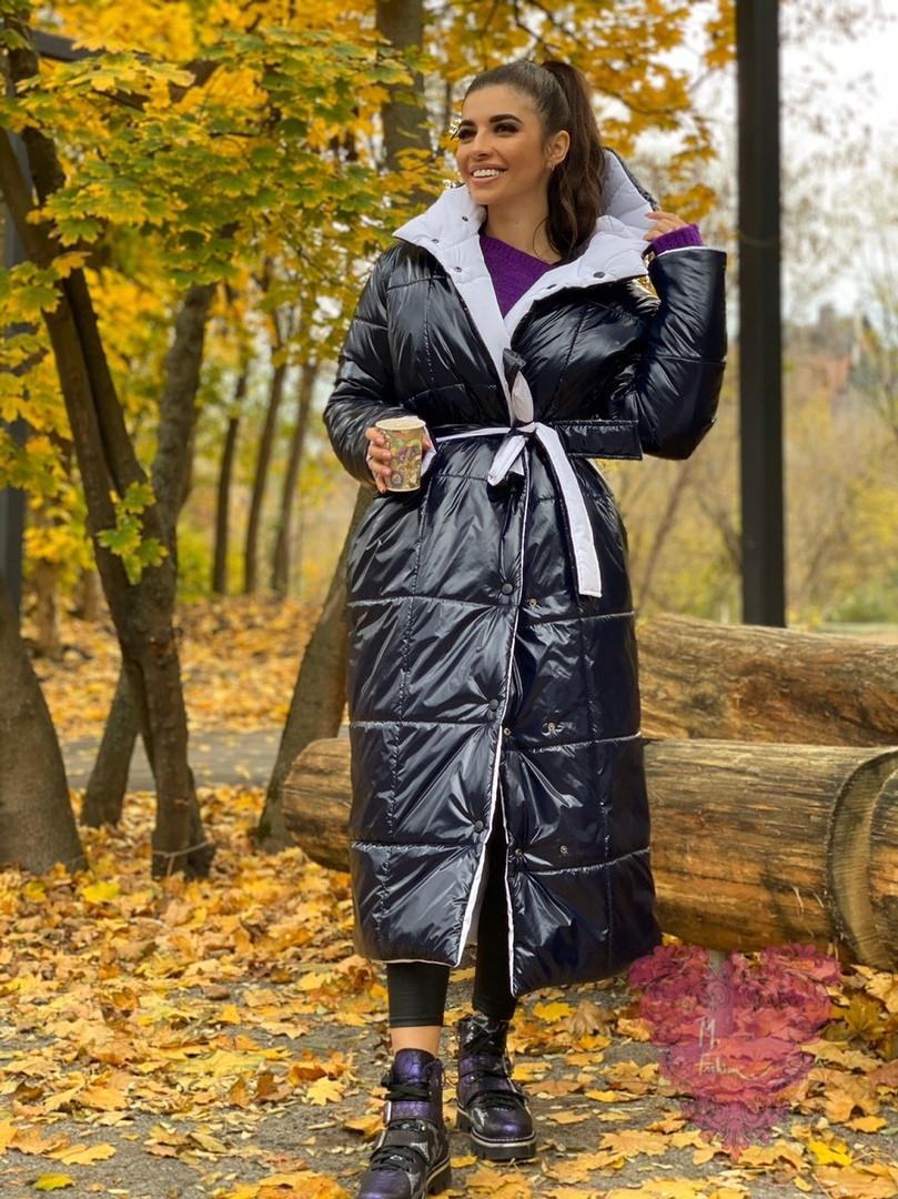 Длинное зимнее двухстороннее Пальто с капюшоном 71pal249