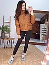 Короткая зимняя курта с воротником - стойкой и накладными карманами 66kur180Q, фото 3