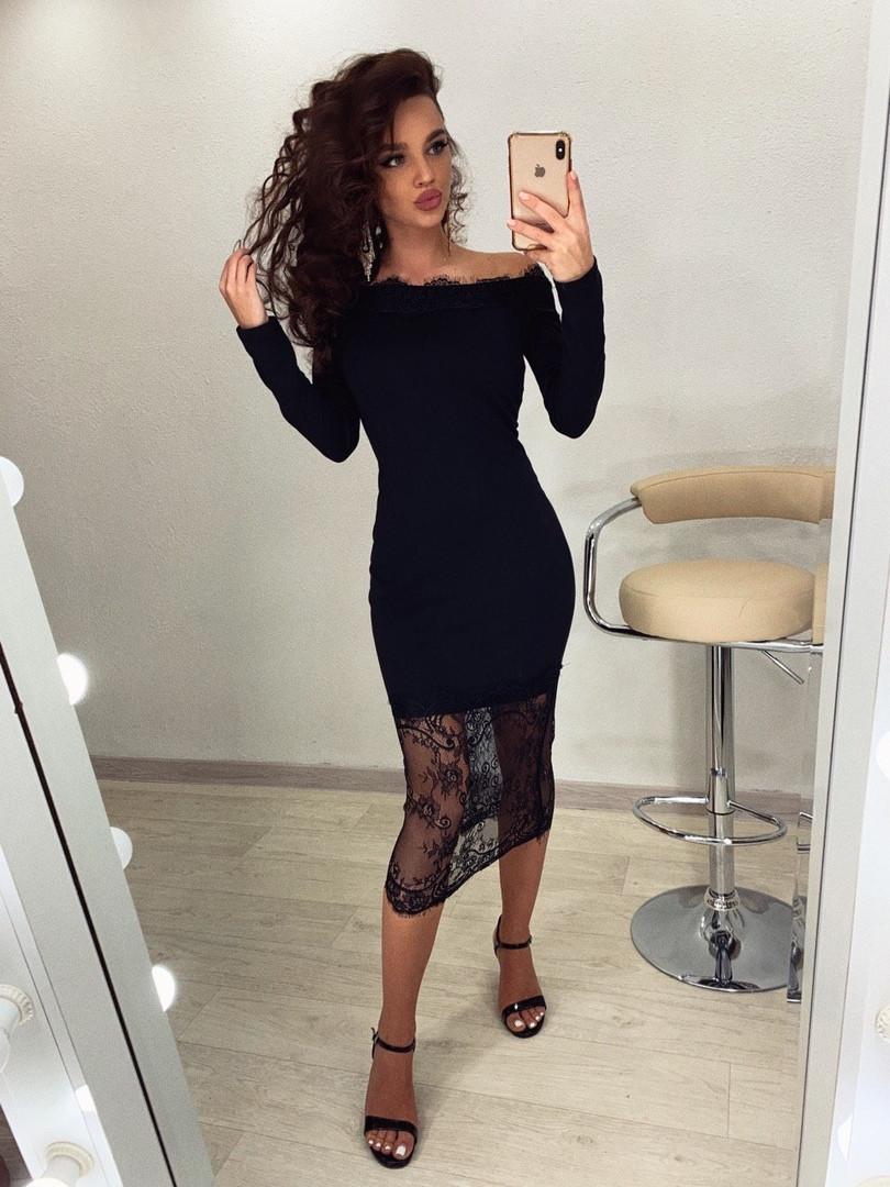 Платье футляр миди с открытыми плечами и отделкой из кружева 71plt260