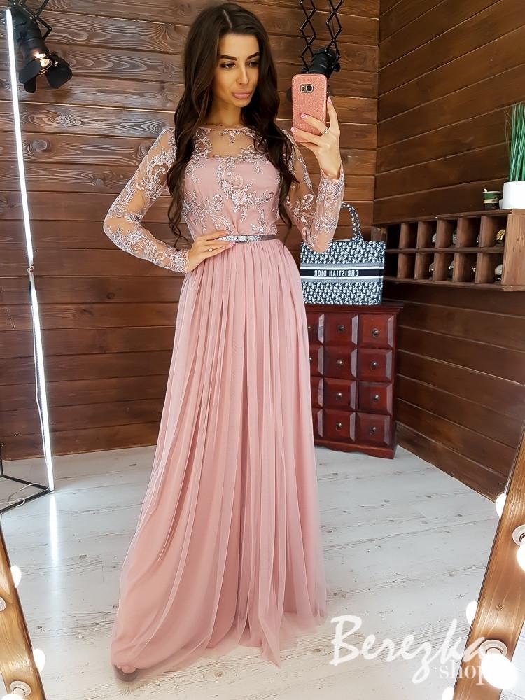 Длинное платье с верхом из сетки с кружевом и струящейся фатиновой юбкой 66plt277Q