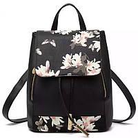 Женский рюкзак Ангелина черный с цветами в городском стиле