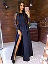 Длинное платье с закрытым верхом и длинным рукавом из сетки и кружева 66plt302Е, фото 2