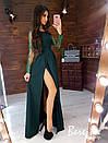Длинное платье с закрытым верхом и длинным рукавом из сетки и кружева 66plt302Е, фото 3