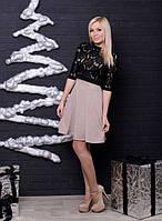 """Красивое нарядное женское платье с болеро """"Хелин""""- 42, 44, 46, 48-50, белый, капучино"""