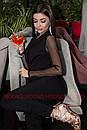 Черный женский комбинезон на запах с рукавом из сетки в горошек 71kos311, фото 3