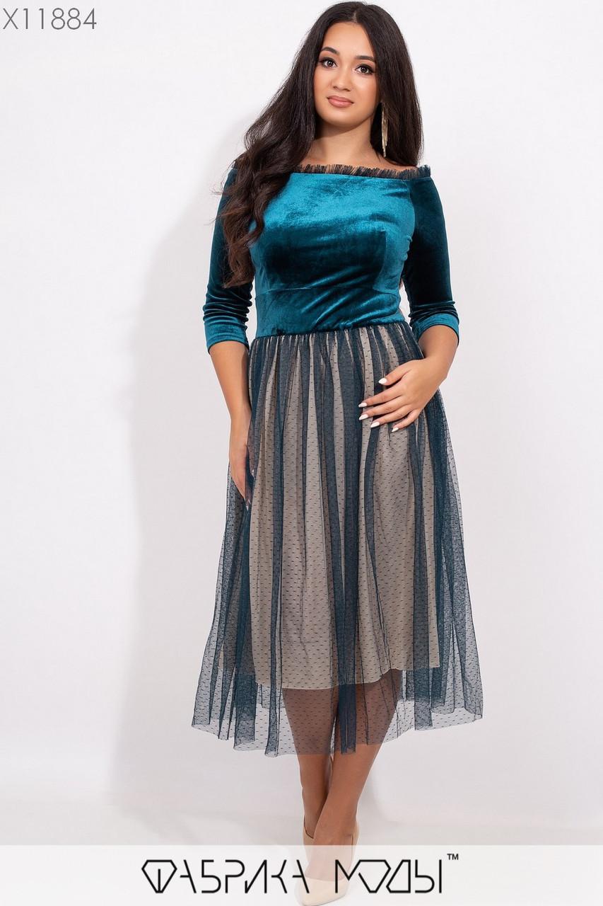 Платье в больших размерах с велюровым верхом и открытыми плечами и пышной юбкой 1blr332