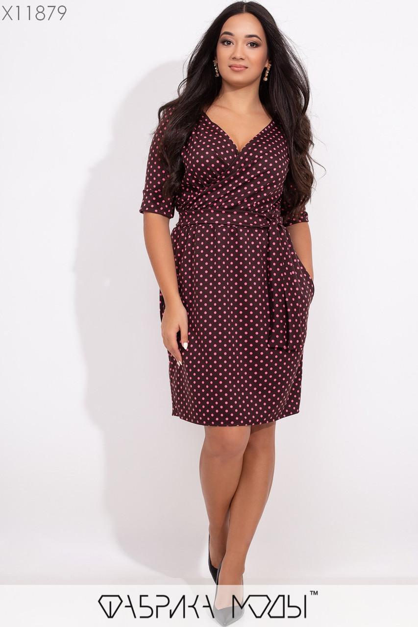 Платье в принт в больших размерах с верхом на запах и рукавом до локтя 1blr334
