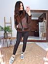 Замшевая коричневая женская дубленка авиатор с ремешком и молнией 66shu71Q, фото 2