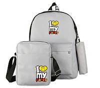 Рюкзак,сумка,пенал женский яркий набор 3в1 Серого цвета