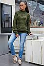 Свитер женский зелёный, р.42-48, вязка, фото 4