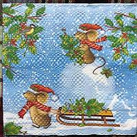 """№ 56 Новогодняя салфетка для декупажа или сервировки стола """"Мышки с санями"""". 33х33"""