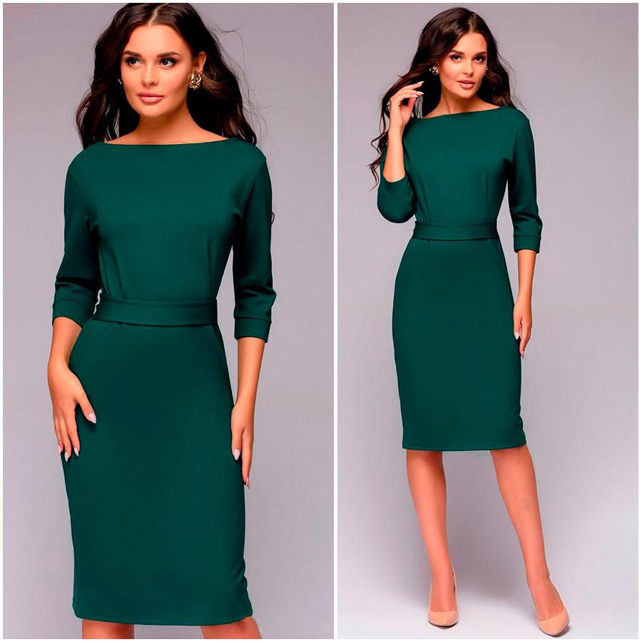 Изумрудное платье футляр Milana (Код MF-169)
