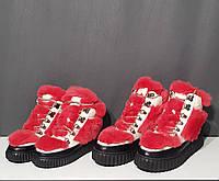 Ботинки меховые красные для девочки
