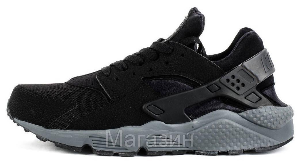 Женские кроссовки Nike Air Huarache Black Grey Найк Аир Хуарачи черные с серым