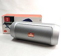 Портативная колонка bluetooth блютуз акустика для телефона мини с флешкой повербанк серебро charge 2+