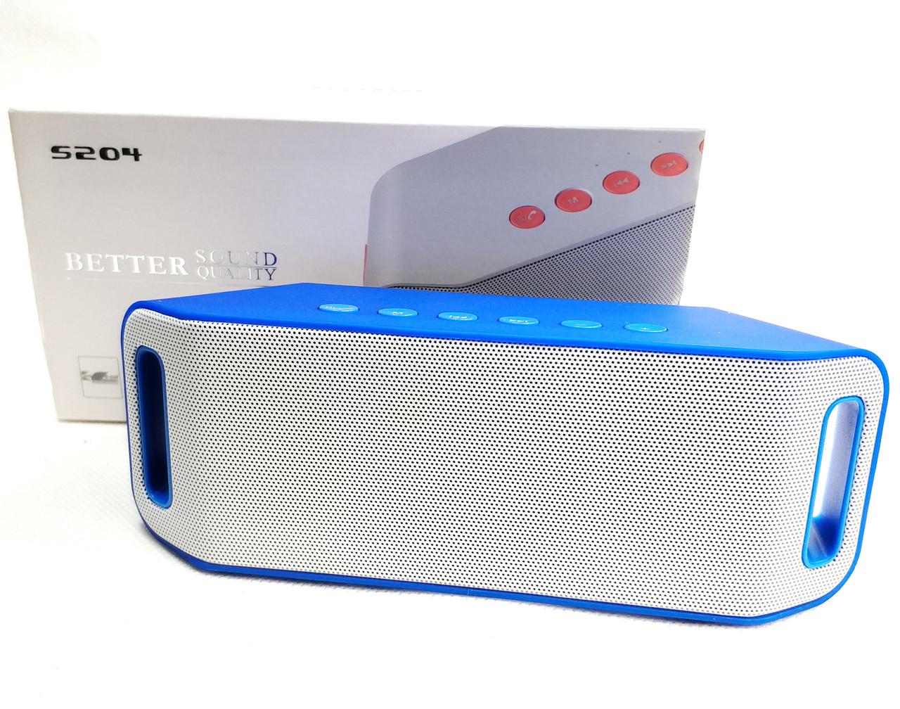 Портативная колонка bluetooth блютуз акустика для телефона мини с флешкой повербанк радио FM синяя S204