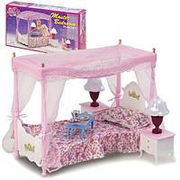 """Комплект мебели для куколки 29 см Gloria """"Спальня"""" 2314, с кроваткой, столиком, тумбочками и лампами"""