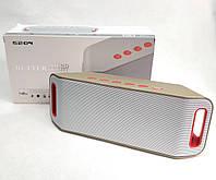 Портативная колонка bluetooth блютуз акустика для телефона мини с флешкой повербанк радио FM золото S204