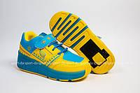 Кроссовки с роликом (heelys, хилисы) - Blue Yellow Led. Размеры: 29, 30, 31, 32, 33, 34, 35, 36