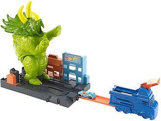 Хот Вилс Трек Город Разгневанный трицератопс Hot Wheels Smashin' Triceratops City