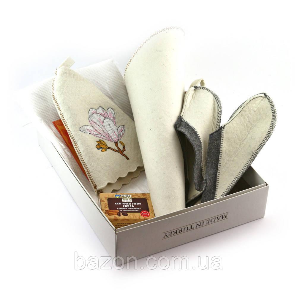 Подарочный набор для сауны женский Luxyart  №1 Магнолия (5 предметов)