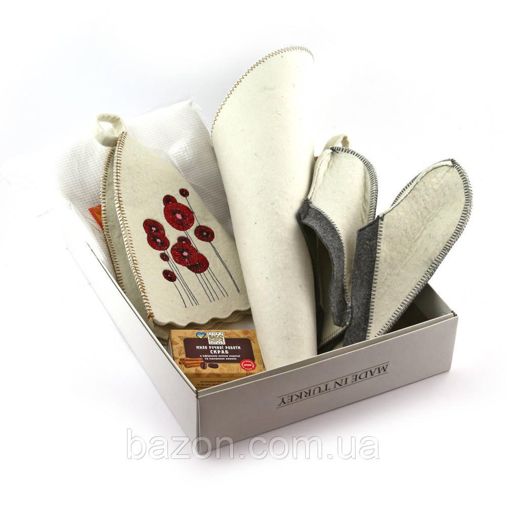 Подарочный набор для сауны женский Luxyart  №1 Маки (5 предметов)