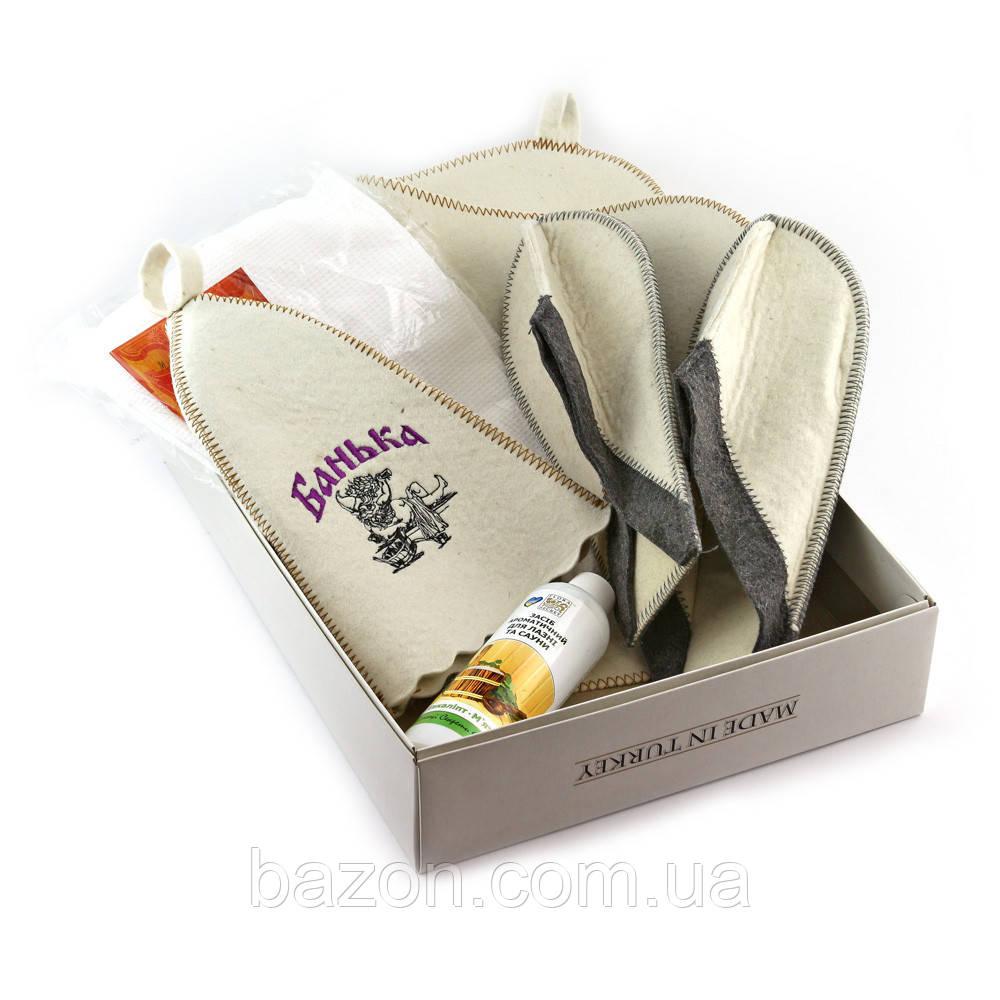 Подарочный набор для сауны мужской Luxyart №2 Банька (5 предметов)