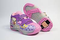 Кроссовки с роликом (heelys, хилисы) - Purle Miki Led (на липучках). Размеры: 29, 30, 31, 32, 33, 34, 35, 36